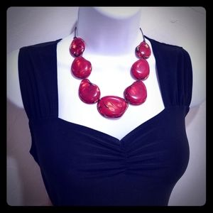 Chunky Red Tagua Nut Necklace Natural Beautiful